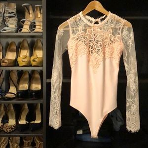 Forever 21 Other - New W/ Tags! Pink Lace Bodysuit Open Back